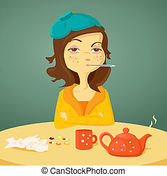 Cartoon girl with illness,  illustration