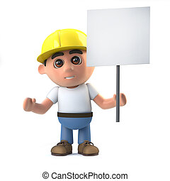 3d Construction worker with placard - 3d render of a...