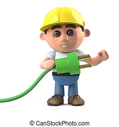 3d Construction worker uses green energy - 3d render of a...