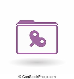 Isolated line art folder icon with a toy crank -...