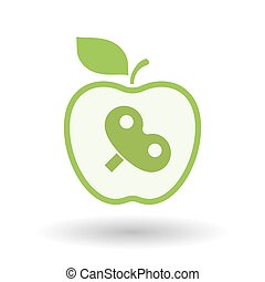 Isolated line art apple icon with a toy crank - Illustration...