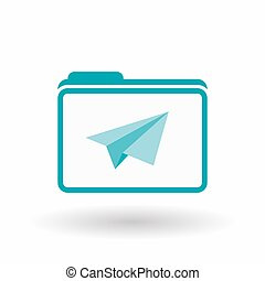 Isolated  line art folder icon with a paper plane