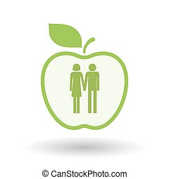 Isolated line art apple icon with a heterosexual couple...