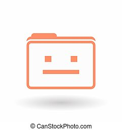 Isolated  line art folder icon with a emotionless text face