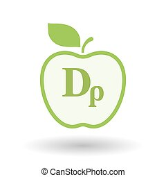Isolated line art apple icon with a drachma currency sign -...