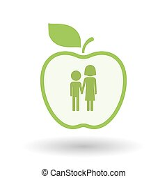 Isolated line art apple icon with a childhood pictogram -...