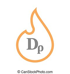 Isolated line art flame icon with a drachma currency sign -...