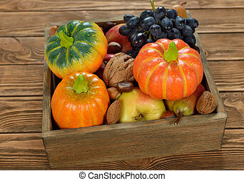 Autumn harvest in a wooden box