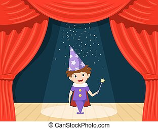 Young magician on stage. Children's performance. Small actor on stage playing the role of a