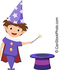 The little magician A child in a purple suit and cap with...