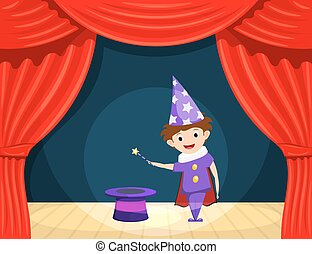 Young magician on stage. Children's performance. Small actor with a magic wand and