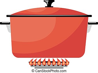 Cartoon red metal pan on a gas stove. Vector image kitchen pan in the fire. Stock vector illustration
