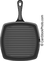 Vector image of a black square cast iron pan with a handle on a white background. Subject kitchen accessory. Stock vector illustration