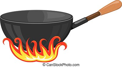 Cartoon vector image of a black frying pan with stylized flames on a white background. Kitchen utensils. Accessory for the kitchen. Stock vector illustration