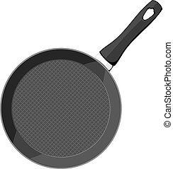 Vector image of a black cast iron pan with a handle on a white background. Subject kitchen accessory. Stock vector illustration