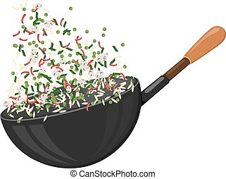 Large cast-iron pan with rice and vegetables. Culinary sign. Food Icon. Stock vector