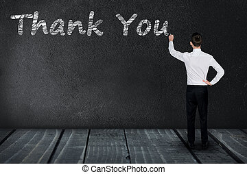 Thank You text on black board