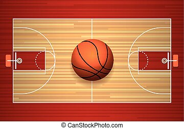 Basketball court floor top view - Basketball hardwood court...