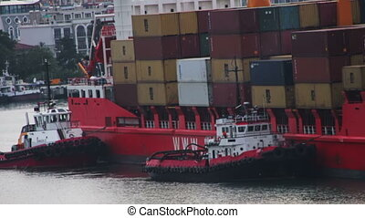 Cargo Ferry Arrives to the Sea Port - Big Commercial Cargo...