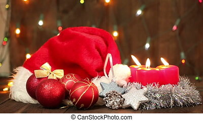 Hat of Santa Claus and Christmas tree decorations HD