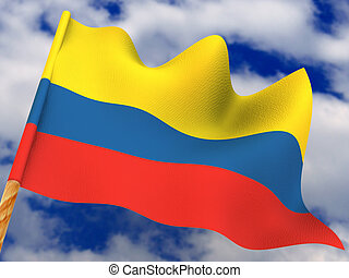 Flag. Colombia. 3d