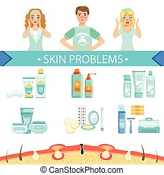Dermatological Problems Infographic Medical Poster. Cartoon...
