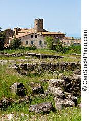Etruscan remains in Volterra - Etruscan ruins in Volterra,...