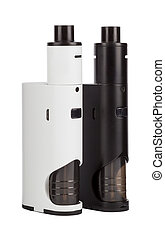 Vaping devices isolated on white - E-cigarettes or vaping...