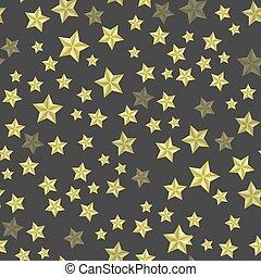 Set of Yellow Stars. Seamless Starry Pattern.