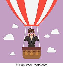 Businessman use binoculars looking for business on hot air...