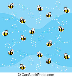 Bee Pattern - A seamless repeating cartoon pattern with...