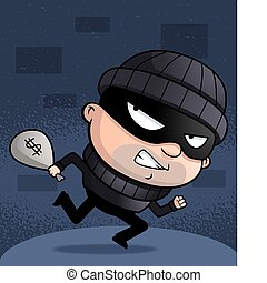 Burglar Running - A cartoon burglar running with a money...