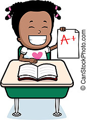 Student Grades - A happy cartoon student with good grades