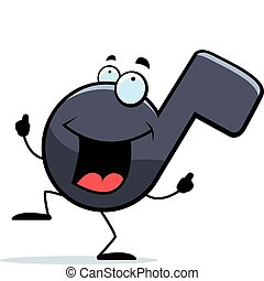 Musical Note Dancing - A happy cartoon musical note dancing...