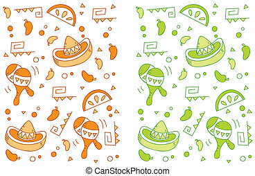 Mexican Pattern - A seamless repeating cartoon pattern with...