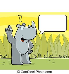 Rhino Talking - A happy cartoon rhino talking and smiling