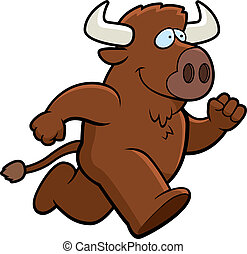 Buffalo Running - A happy cartoon buffalo running and...