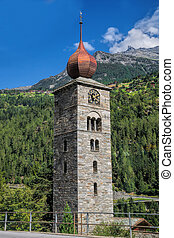 Saint Nicolas bell tower in Swiss Alps