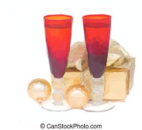 christmas champagne glasses - Low poly illustration two red...