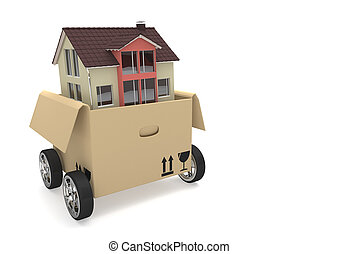 Opened Moving Box House - House in a moving box with wheels...