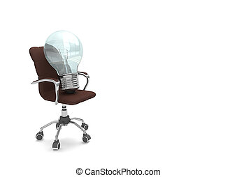 Bulb On Swivel Chair - Bulb with swivel chair on the white.