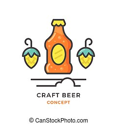 Craft beer concept isolated on white Vector illustration