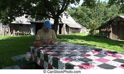 man clean mushroom chanterelle with knife in village garden....
