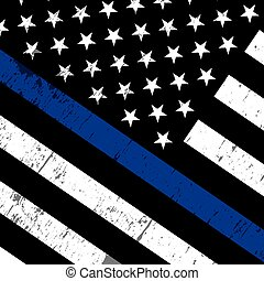 Police Support Flag Icon Illustration - An angled American...