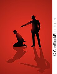 Man aiming a gun to the kneeling man's head - Silhouette...