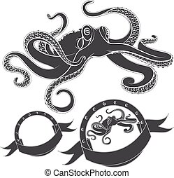 Set of vector images with octopus.