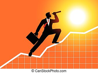 Businessman using telescope on graphic chart