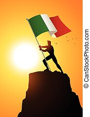Man holding the flag of Italy
