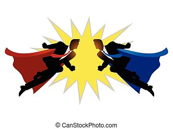 Super businessmen clashing on the air - Silhouette of two...