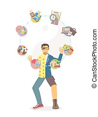 Life balance juggling on white background - Man in separate...